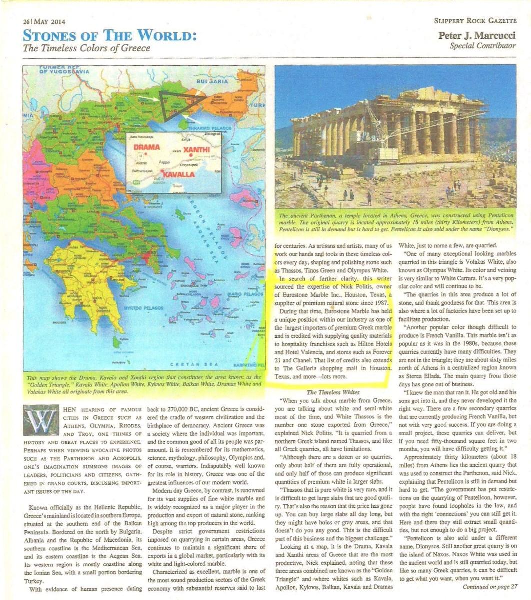 Slippery Rock Gazette Article Eurostone Houston