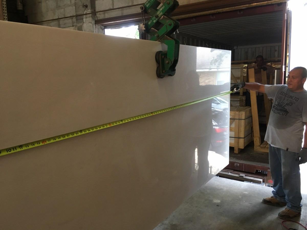 Thassos White natural Greek marble large slab Eurostone Houston quality control