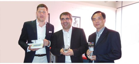 From left to right: Marek Birkenstock, Managing Director of Birkenstock & Co. (Europe), Richard Vaucher, Managing Director of VOH and Jacky Chung, Managing Director of JC Universal Company (Asia) at this morning's presentation.