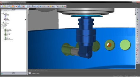 The 2014 R2 version of FeatureCAM supports the programming and simulation of right-angle heads.