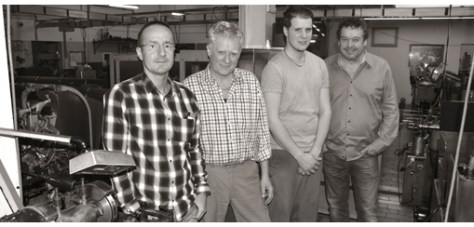 From left to right: Pascal Vuillemier, administration, Eric Gyger, director, Simon Gyger, high precision turner all three with Roger Maeder SA and Claude Konrad, director of Polydec SA.