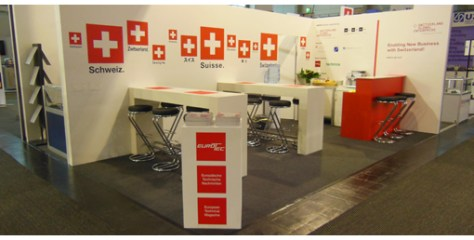 THe calm before the storm, the bistrop section of the swiss booth before the opening this morning.