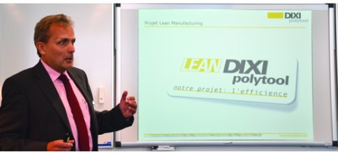 Marc Schuler, CEO of Dixi Polytool presenting the Lean anufacturing project to the authorities and invited companies.