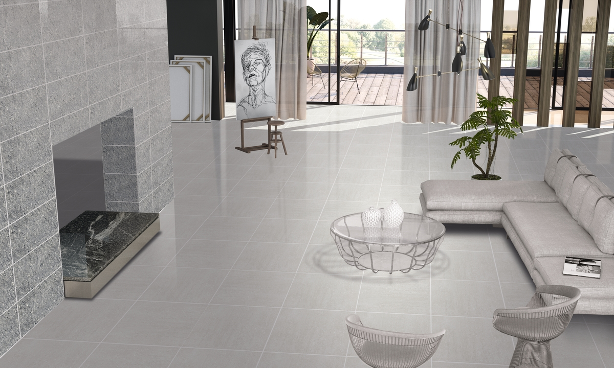 Luxurious Light Grey Porcelain Polished Tiles