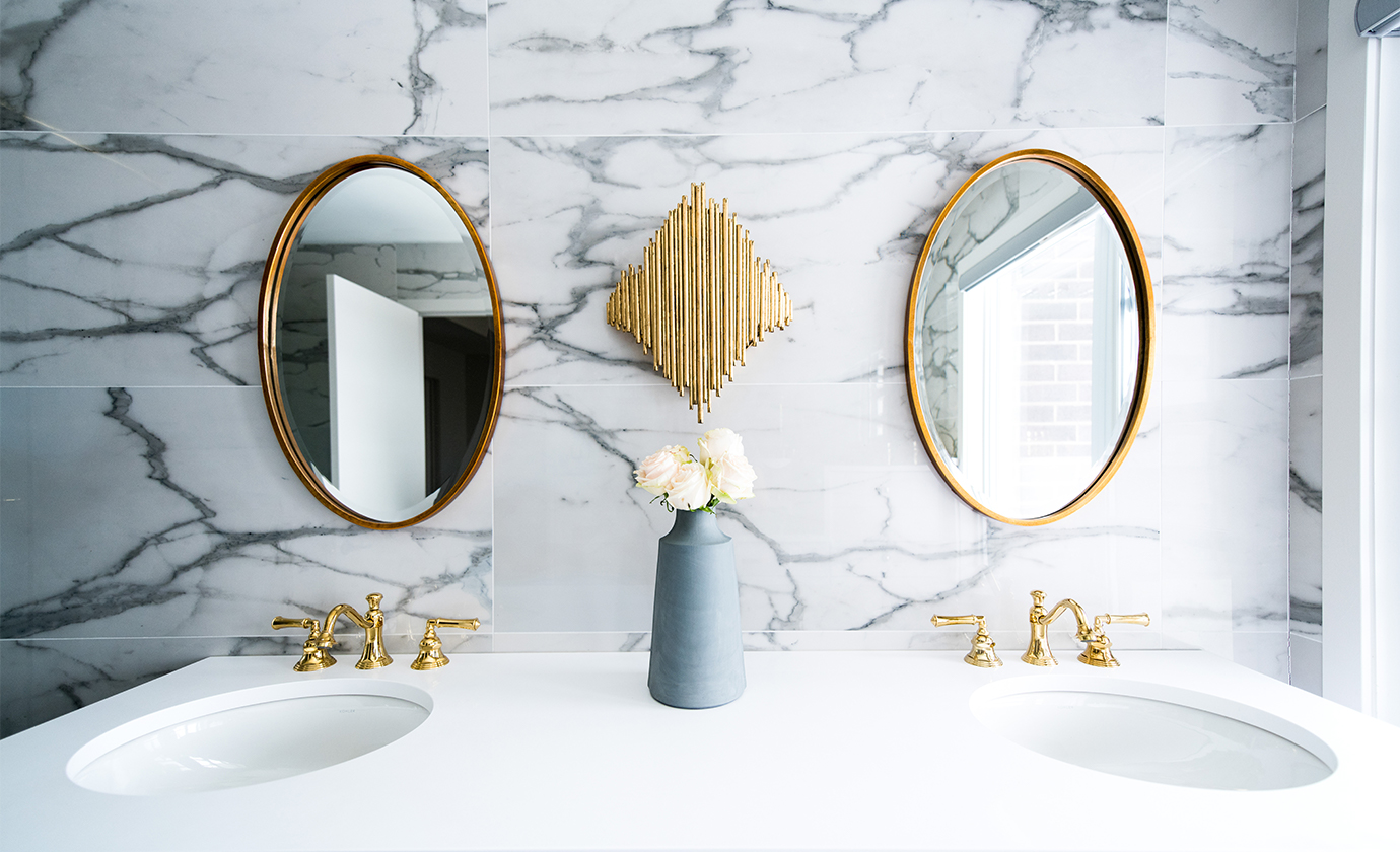 Bathroom with Marble Wall