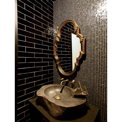 Mosaic Bathroom with Natural Stone Sink West of Main