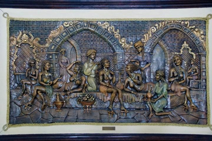 Relieve que representa un Hammam en Estambul