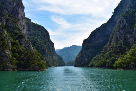 Fjord-like Komani Lake in the Albanian Alps