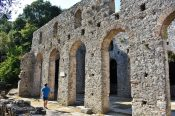 Ruins of ancient Roman basilica in Butrint, Albania