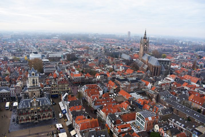 View from the New Church tower of Delft