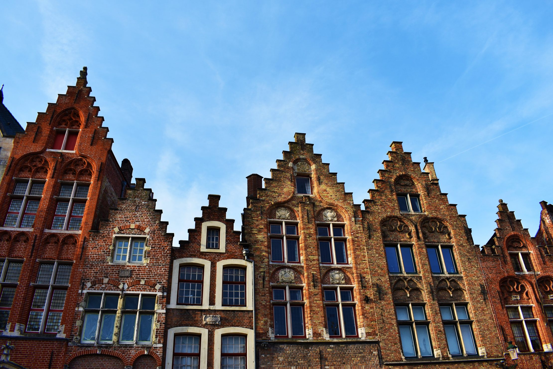 Characteristic step-gabled facades of Bruges