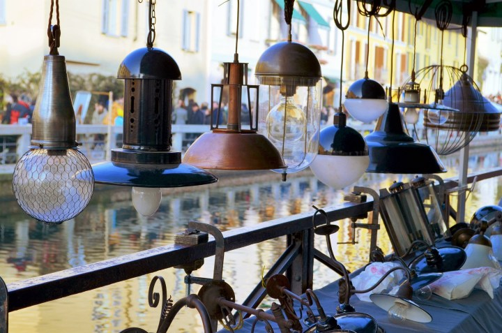 Vintage lamps at Naviglio Grande antique market