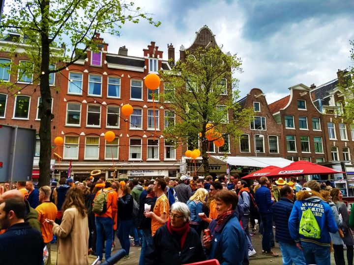Street celebrations for the King's Day in Amsterdam