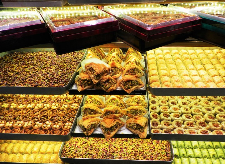 Delicious Turkish sweets based on nuts and honey