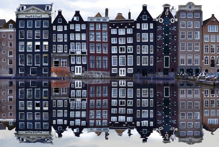 The seven Dancing Houses in Amsterdam