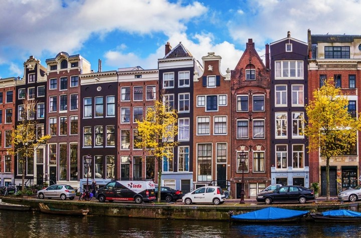 Characteristic narrow houses in Amsterdam