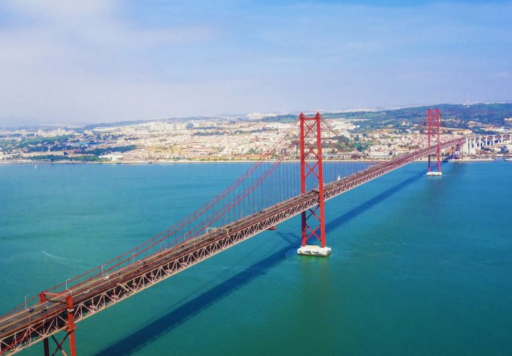 It looks just like Golden Gate - impressive 25 April Bridge in Lisbon, Portugal