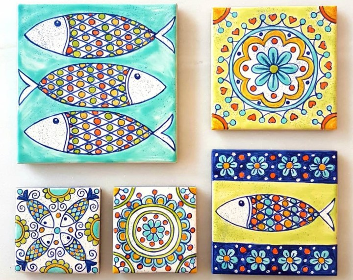 Artisan azulejos with sardines - the emblem of Lisbon