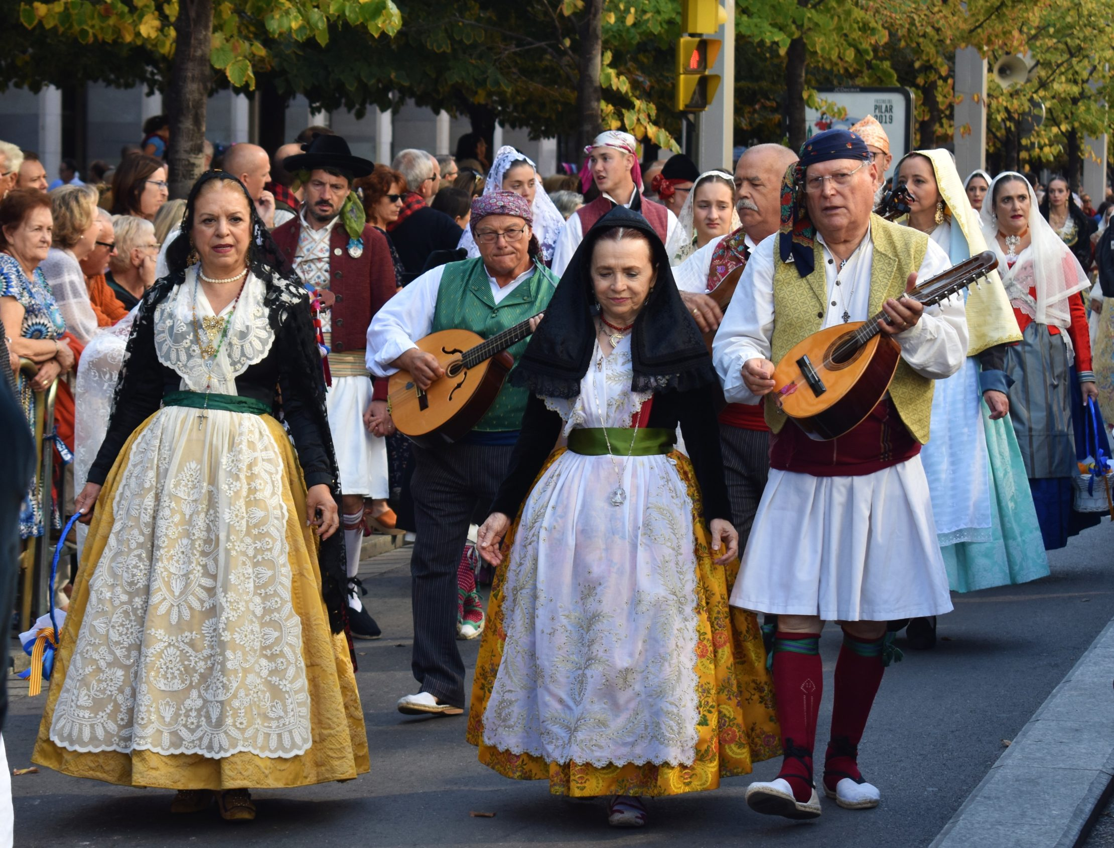 During Fiestas del Pilar in Zaragoza the streets are filled with people wearing traditional costumes of their towns and villages