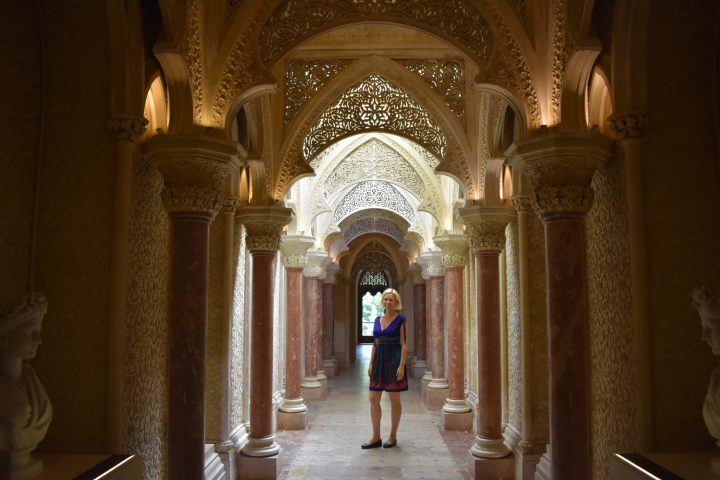 Sublime decor of the corridors of the Monserrate Palace in Sintra, Portugal