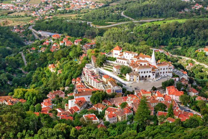 The old town of Sintra with imposing National Palace