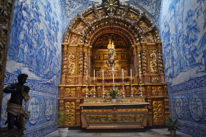 Characteristic azulejos (tiles) decoration of the chapel in Faro cathedral