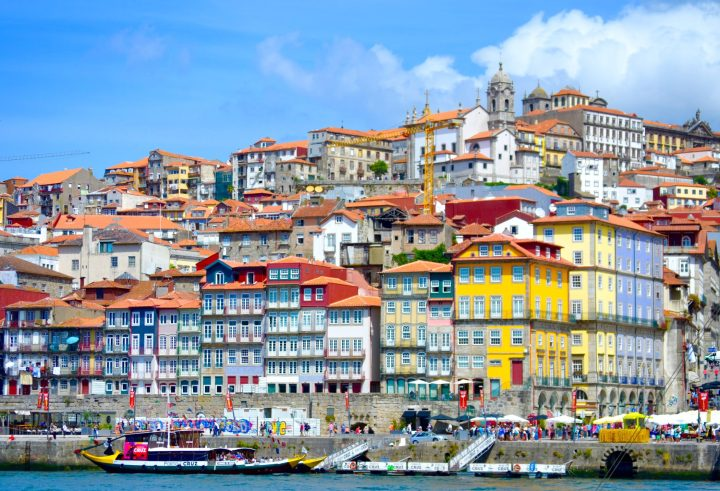 Charming colourful hoses of the Ribeira district in Porto