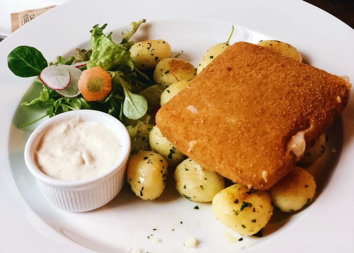 Fried Cheese - Smažák - is usually a square slice of Ementaler, breaded and deep fried