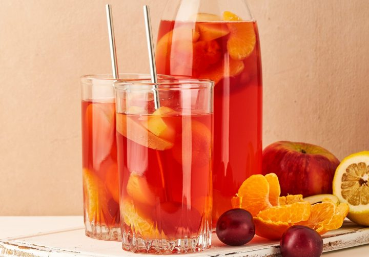 Kompot - hot drink of boiled mixed fruit
