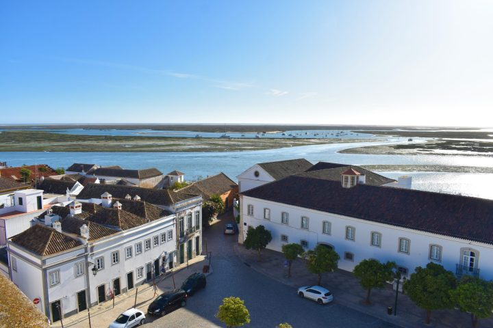 Striking view from the tower of Faro cathedral where the town abruptly finishes and the lagoon takes over - Photos of Algarve Portugal