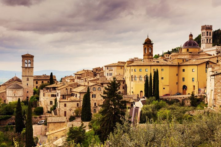 Fascinating architecture of Assisi in the region of Umbria, central Italy