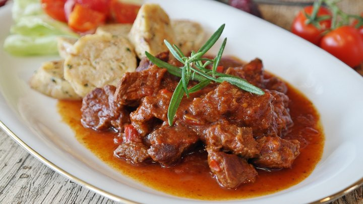 Goulash - in Austria spelled Gulasch - a heavy beef stew