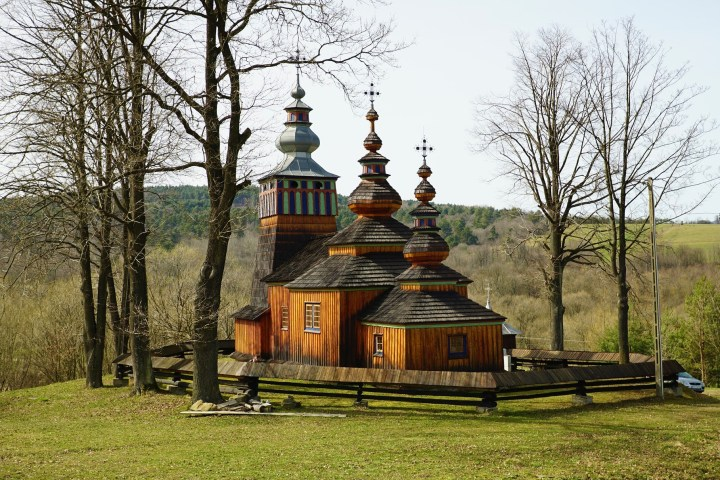 Unique wooden architecture of historical Orthodox churches - Kotań church in Bieszczady Mountains in southerneast Poland