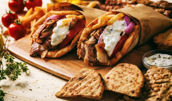 Classic Greek food - Gyros wrapped in pita bread