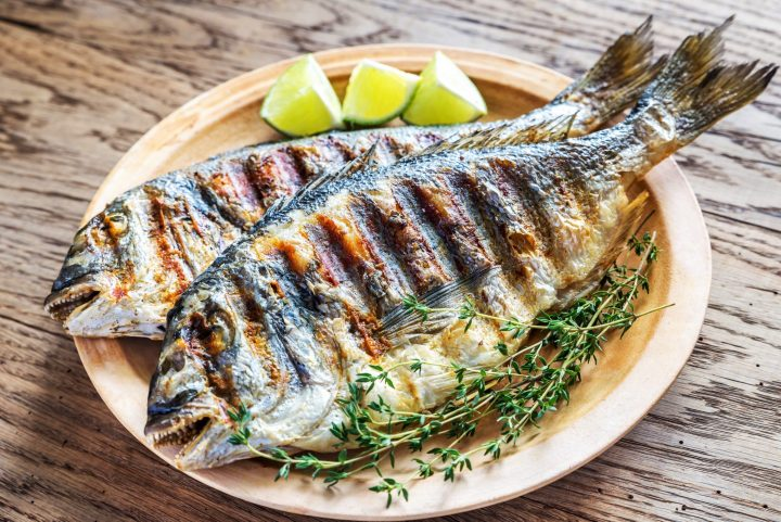 Grilled seabream - a typical Greek dish
