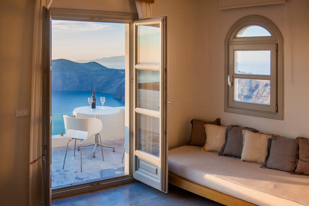 Vista desde un hotel en Santorini
