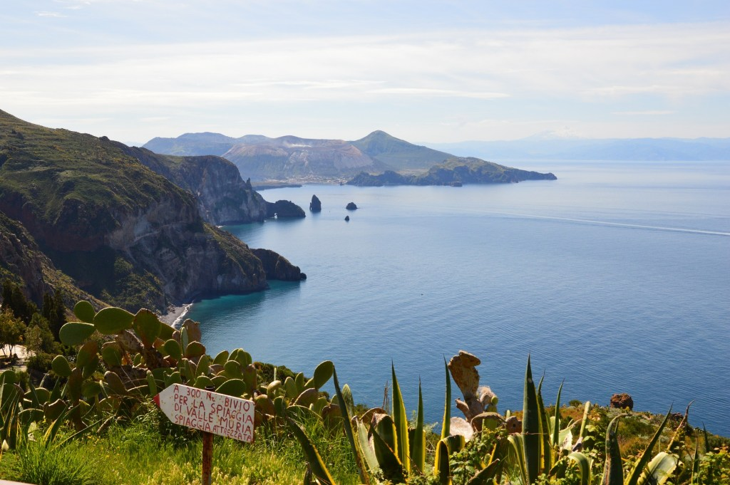 Panorama from the high part of Lipari towards the island of Vulcano - most beautiful islands of Italy