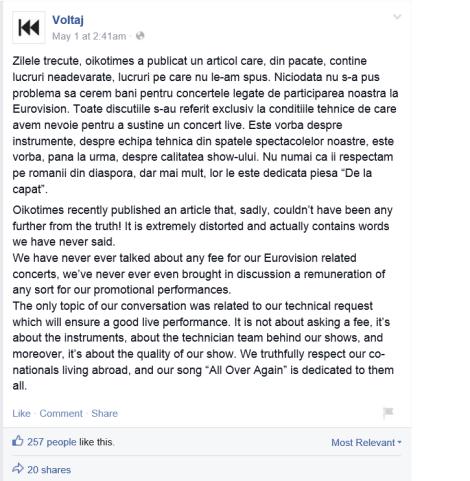 Statement made by Voltaj on Facebook