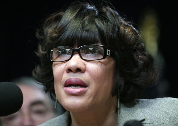 Flint Mayor Karen Weaver speaks at a press conference after hosting a congressional delegation at a community forum about the City of Flint's water crises March 4, 2016 in Flint, Michigan.