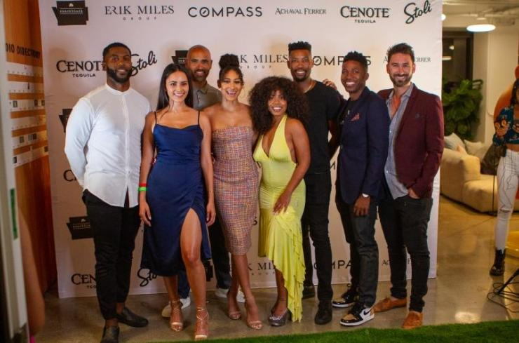 """Zac Diles, Samantha Barretto, Alexandre Anu, Taylor Schwartz, Ajani Scott, Erik Miles, Andrew Clinkscale, and Tai Savet at """"Love & Listings"""" Watch Party"""