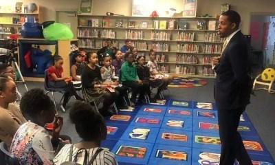 JB Smiley speaking at Elementary school