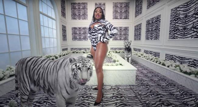 Megan-Thee-Stallion-Tiger-Print-Corset-in-WAP-Music-Video
