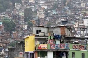 Electoral campaign posters are seen at Rocinha slum in Rio de Janeiro