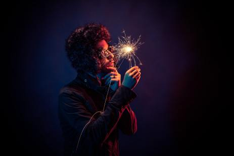 Thinker with sparkler