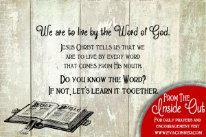 We are to live by the Word alone.