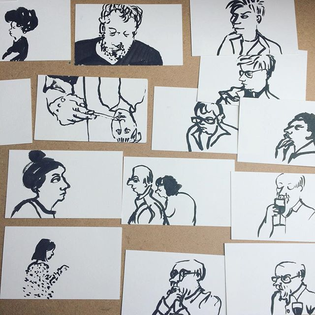 Day 8 / 100.Spying on people again. These are drawings from yesterday. Me and Mauri had a free day and decided to draw for a few hours in a pub. As my phone was dead I couldn't take a photo. #100dayproject #100daychallenge #100daysofdrawing #peoplewatching #drawinginpubs #pentelbrushpen #miniportraits