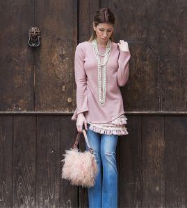 Maglione lungo lana lurex rosa con frangia ricamata