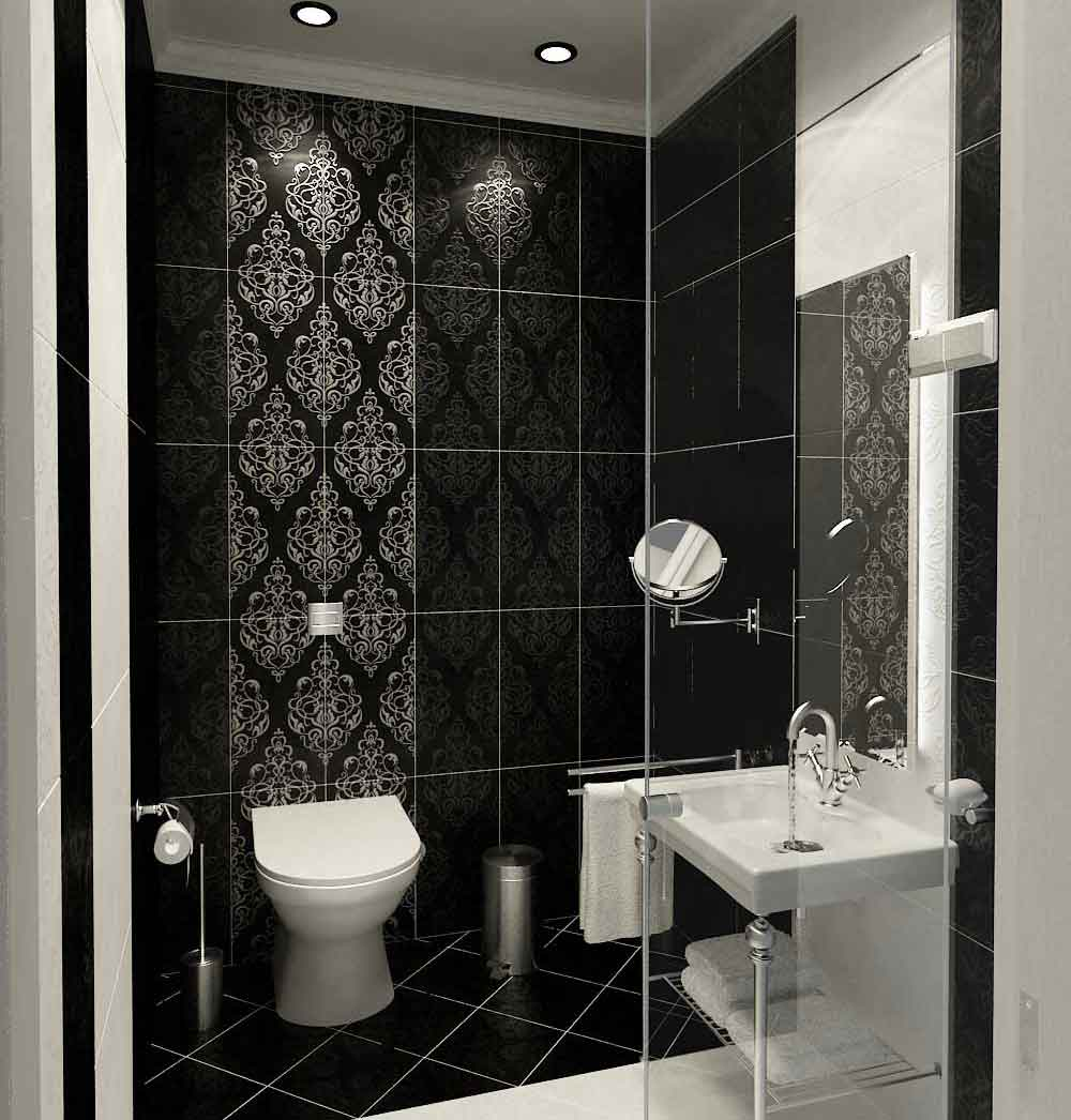 Small Bathroom Black and White Tile Design Ideas