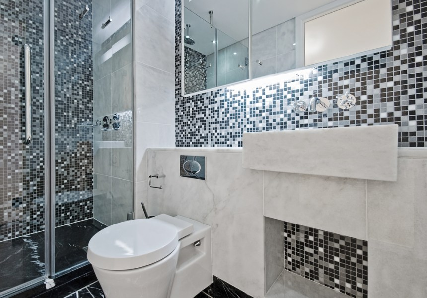 Mosaic Black and White Tile Designs for Bathrooms   EVA Furniture Mosaic Black and White Tile Designs for Bathrooms