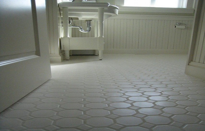 Small Bathrooms White Hexagon Concrete Bathroom Floor Tile   EVA     Small Bathrooms White Hexagon Concrete Bathroom Floor Tile